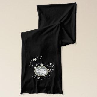 Écharpe Éléphant de fantaisie noir gris jaune floral