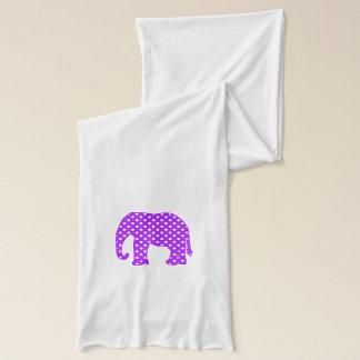 Écharpe Éléphant pourpre et blanc de pois
