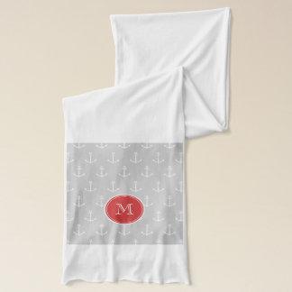 Écharpe Motif d'ancres de blanc gris, monogramme rouge