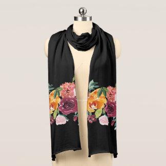 Écharpe noire florale peinte
