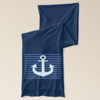 Écharpe rayures bleues et ancre de marine nautique