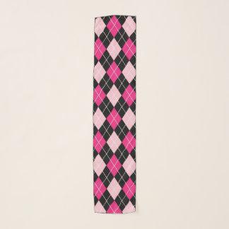 Écharpe rose à motifs de losanges de mousseline de