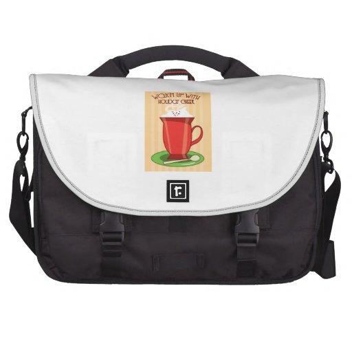Échauffement avec l'acclamation de vacances sac pour ordinateur portable