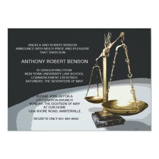 Échelle d'or de justice, obtention du diplôme carton d'invitation  12,7 cm x 17,78 cm
