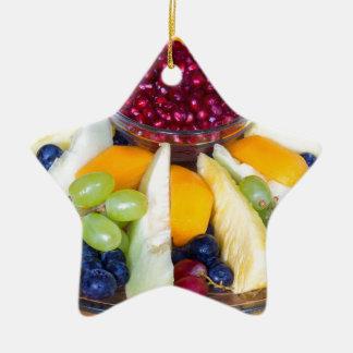 Échelle en verre complètement de divers fruits ornement étoile en céramique