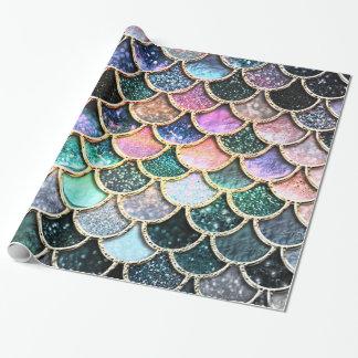 Échelles argentées de luxe de sirène de papier cadeau noël