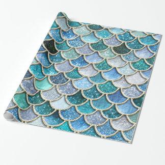 Échelles argentées de sirène de scintillement papiers cadeaux