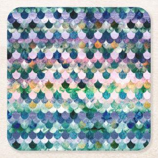 Échelles bleu-foncé de Fishscales de sirène de Dessous-de-verre Carré En Papier