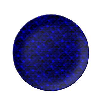 Échelles bleu-foncé de sirène de Falln Assiette En Porcelaine