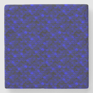 Échelles bleu-foncé de sirène de Falln Dessous-de-verre En Pierre
