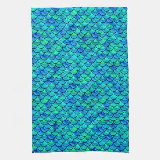 Échelles de bleu d'Aqua de Falln Serviette Éponge