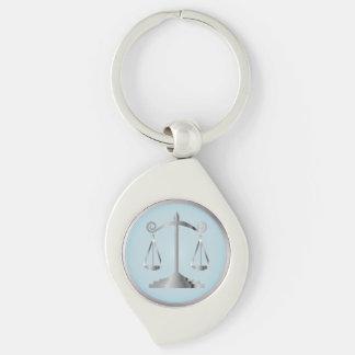 Échelles de bleu d'Aqua de l'avocat | de la loi | Porte-clé Swirl Argenté