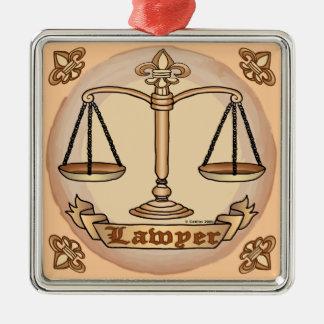 Échelles de justice d'avocat ornement carré argenté