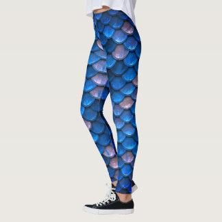 Échelles de poissons assez bleues de sirène leggings