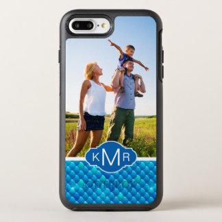 Échelles de poissons bleues au néon du monogramme coque OtterBox symmetry iPhone 8 plus/7 plus