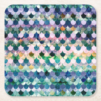 Échelles de poissons bleues de sirène de tendance dessous-de-verre carré en papier