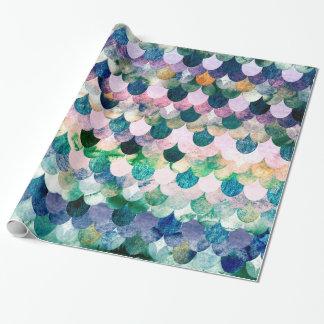 Échelles de poissons bleues de sirène de tendance papiers cadeaux noël