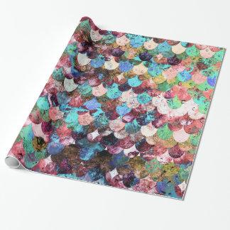 Échelles de poissons colorées chics de sirène de papier cadeau noël