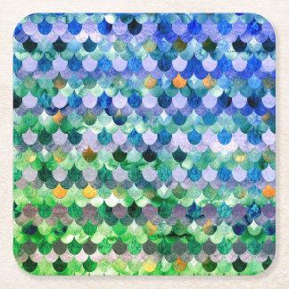 Échelles de poissons Girly de sirène de vert bleu Dessous-de-verre Carré En Papier