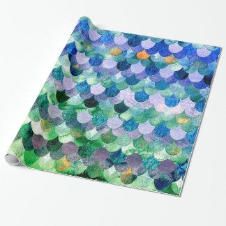 Échelles de poissons Girly de sirène de vert bleu Papier Cadeau Noël