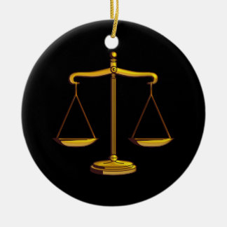 Échelles des cadeaux de loi de la justice   ornement rond en céramique