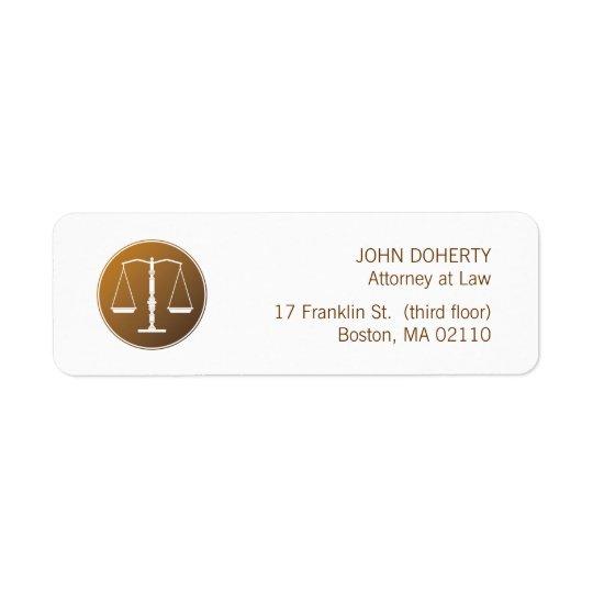 Échelles d'étiquette de loi de justice étiquettes d'adresse retour