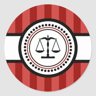 Échelles d'étiquette de rayures de justice (rouge sticker rond