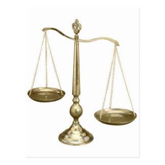 échelles d'or de justice cartes postales