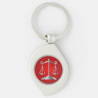 Échelles du rouge de l'avocat | de la loi | de la porte-clé swirl argenté