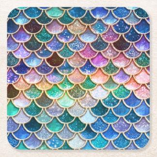 Échelles Mermaidscales de scintillement de sirène Dessous-de-verre Carré En Papier