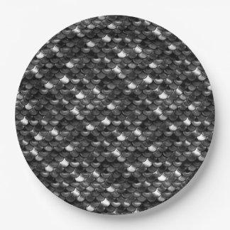 Échelles noires et blanches de Falln Assiettes En Papier