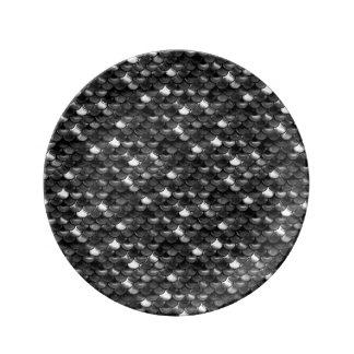 Échelles noires et blanches de Falln Assiettes En Porcelaine