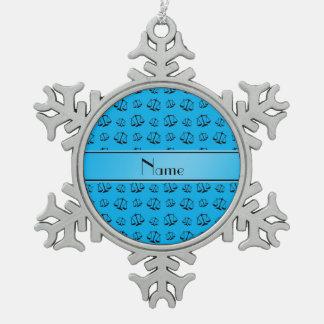 Échelles nommées personnalisées de justice de bleu ornement flocon de neige pewter