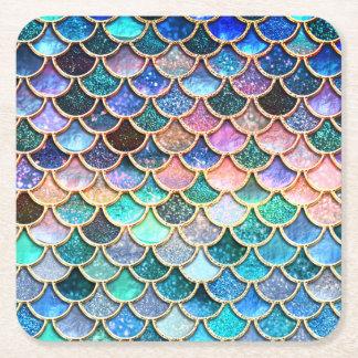 Échelles roses de sirène d'échelles de dessous-de-verre carré en papier