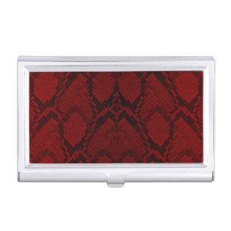 Échelles rouges et noires de reptile de peau de étuis pour cartes de visite