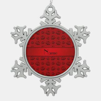 Échelles rouges nommées personnalisées de justice ornement flocon de neige pewter