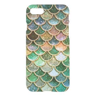 Échelles vertes de sirène d'or de scintillement de coque iPhone 7