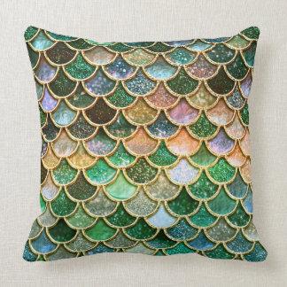Échelles vertes de sirène d'or de scintillement de coussins carrés