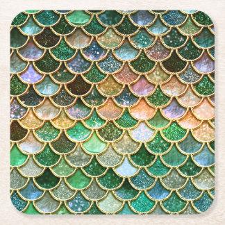 Échelles vertes de sirène d'or de scintillement de dessous-de-verre carré en papier