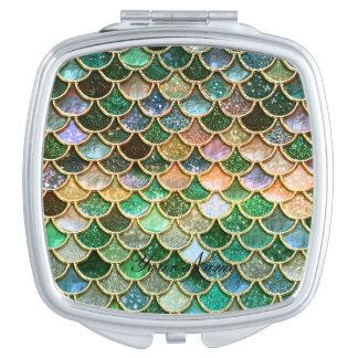 Échelles vertes de sirène d'or de scintillement de miroir de maquillage