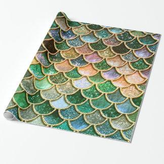 Échelles vertes de sirène d'or de scintillement de papier cadeau noël