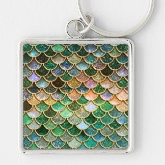 Échelles vertes de sirène d'or de scintillement de porte-clé carré argenté