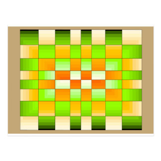 Échiquier jaune et vert d'illusion optique carte postale