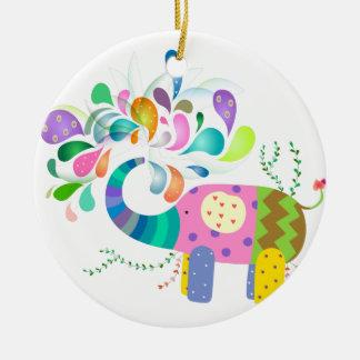 Éclaboussement coloré d'éléphant ornement rond en céramique