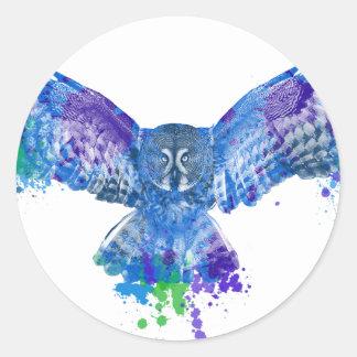 Éclaboussure bleue de couleur de hibou sticker rond