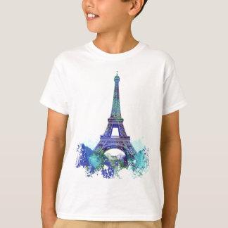Éclaboussure de couleur d'Eiffel de visite de La T-shirt