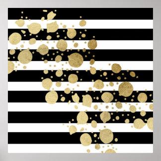 Éclaboussure de peinture d'or de Faux sur les Poster