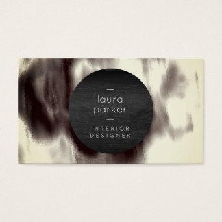 Éclaboussure grise noire et blanche d'aquarelle cartes de visite