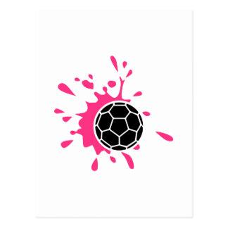 Éclaboussure rose de handball carte postale