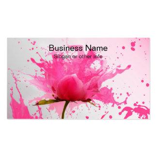 Éclaboussure rose de peinture d'abrégé sur fleur carte de visite standard